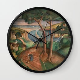 Hilltop River Landscape with estuary landscape painting by Henryk Hayden   Wall Clock