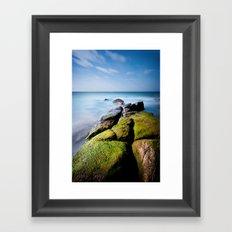 Broken Rock to Beach Framed Art Print
