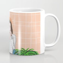 girl in peach with plants illustration painting Coffee Mug