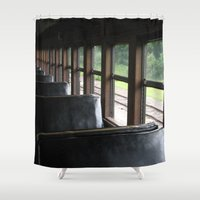 train Shower Curtains featuring Train by Catherine Donato