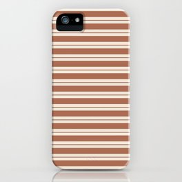 Sherwin Williams Cavern Clay Warm Terra Cotta SW 7701 Horizontal Line Patterns 1 on Creamy Off White iPhone Case