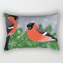 Bullfinch birds on fir tree branches Rectangular Pillow