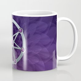 Elven star SIlver embossed with Amethyst Coffee Mug