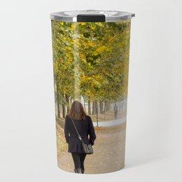 Walking in Autumn Travel Mug