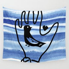 hand in blue waves Wall Tapestry