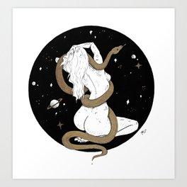 Space Goddess and the Golden Snake Art Print
