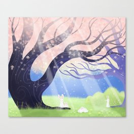 Soft Light On Soft Hares In Aloquil's Glades Canvas Print