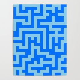 Baby Blue and Brandeis Blue Labyrinth Poster