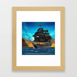 Pirate Ship at Sunset Framed Art Print