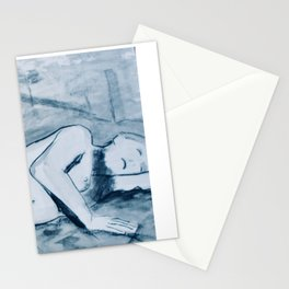 In the studio- charcoal and ink nude study of model reclining. Stationery Cards
