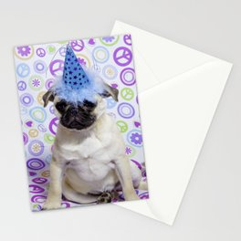 Grumpy Pug Puppy in a Party Hat with Rainbow Peace Sign Background Stationery Cards