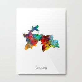 Tajikistan Watercolor Map Metal Print