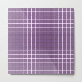 Pomp and Power - violet color - White Lines Grid Pattern Metal Print