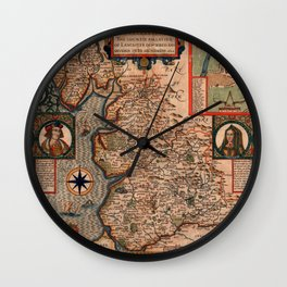 Map Of England 1610 Wall Clock