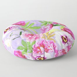 Pink Flowers and Lilac Pansies Pattern On Lavender Floor Pillow