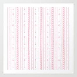 Blush pink white bohemian arrows zigzag geometrical Art Print