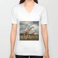 giraffes V-neck T-shirts featuring Giraffes by Niklas Rosenkilde