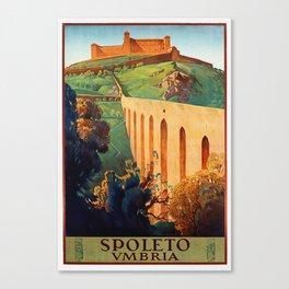 Vintage Spoleto Italy Travel Poster Canvas Print