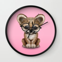 Cute Cougar Cub Wearing Reading Glasses on Pink Wall Clock