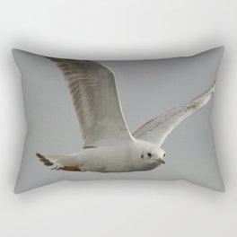 Seagull In Flight Against Gray Sky Vector Rectangular Pillow