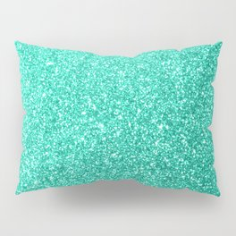 Aquamarine Aqua Blue Sparkly Glitter Pillow Sham