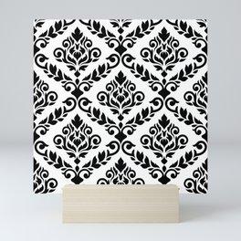 Prima Damask Pattern Black on White Mini Art Print