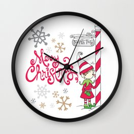 Merry Christmas Elf Wall Clock