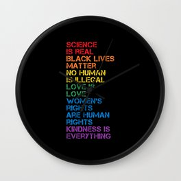 Science Is Real Black Lives Matter LGBT Pride BLM Wall Clock
