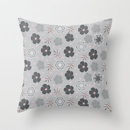 Gray Pink and Black flowers Throw Pillow