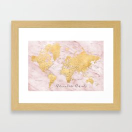 """Adventure awaits, gold and pink marble detailed world map, """"Sherry"""" Framed Art Print"""