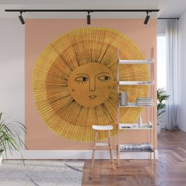 Sun Drawing Gold and Pink Wall Mural