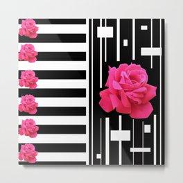 MODERN ABSTRACT PINK ROSES WHITE-BLACK ART Metal Print