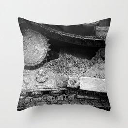 Ivan Caterpillar Track Black and White Throw Pillow