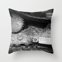 Ivan Caterpillar Track Black and White Throw Pillow