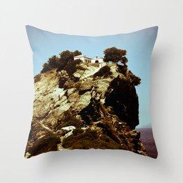 Church on a Hill (Retro) Throw Pillow