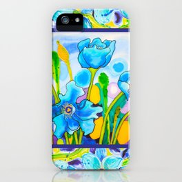 Blue Poppies 1 with Border iPhone Case