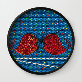 Mosaic tiles background with colored  birds Wall Clock