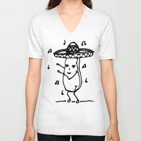 potato V-neck T-shirts featuring Dancing potato by Th3rd Row