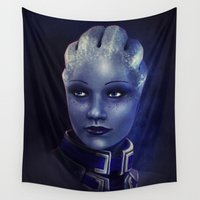 mass effect Wall Tapestries featuring Mass Effect: Liara T'soni by Ruthie Hammerschlag