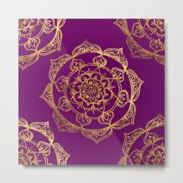 Purple & Gold Mandala Metal Print