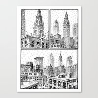 cleveland Canvas Prints featuring Snowy Cleveland by Joseph Remnant