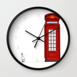 The Telephone Booth and Pigeon  Wall Clock