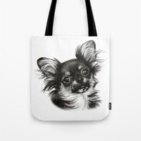chihuahua Tote Bags featuring Chihuahua by Danguole Serstinskaja