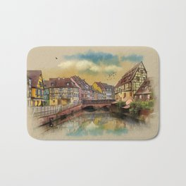 panorama city of Colmar France Bath Mat