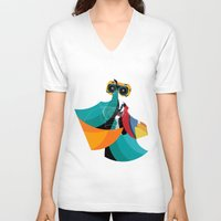 mask V-neck T-shirts featuring Mask by Alvaro Tapia Hidalgo
