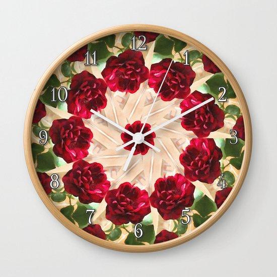 Old Red Rose Kaleidoscope 13 Wall Clock
