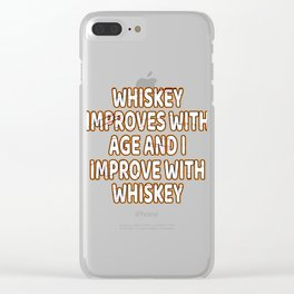 Whiskey Bourbon Helps Alcohol T-Shirt Gift Fathersday new Cat Catlover Kitty Clear iPhone Case