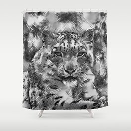 AnimalArtBW_Leopard_20170601_by_JAMColorsSpecial Shower Curtain
