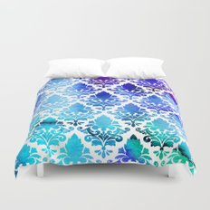 Damask in Cool Purple Duvet Cover