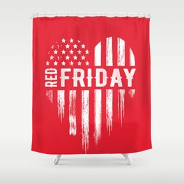 Red Friday Distressed USA Heart Military Shower Curtain